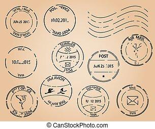 postaköltség, öreg, -, topog, vektor, fekete