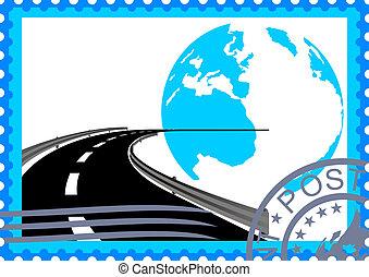 postaköltség, út, stamp.