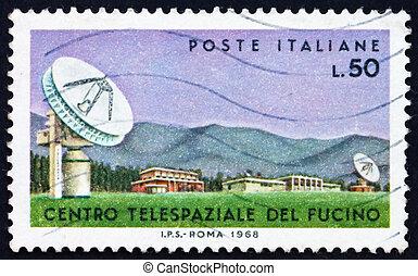 postaköltség, 1968, antenna, bélyeg, olaszország, példabeszédbe burkolt, fucino
