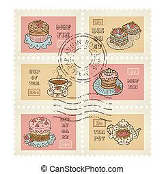 postaköltség, dekoratív, állhatatos, scrapbooking, érvénytelenített, téma, topog, vektor, retro, 6, cukrászsütemény