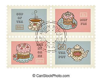 postaköltség, dekoratív, állhatatos, scrapbooking, érvénytelenített, téma, topog, vektor, retro, cukrászsütemény