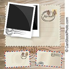 postaköltség, eps10, levelezőlap, szüret, tervezés, boríték, vektor, stamps.