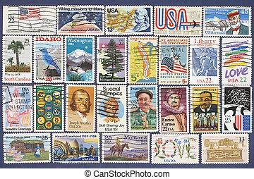 postaköltség, különböző, állhatatos, stamps., usa