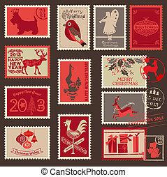 postaköltség, -, karácsony, topog, vektor, scrapbook, tervezés