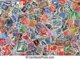 postaköltség, latin, öreg, amerikai, topog, használt, háttér