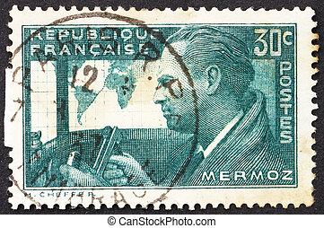 postaköltség, mermoz, bélyeg, franciaország, 1937, farmerszövet, pilóta