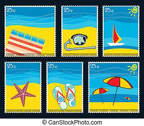 postaköltség, nyár, topog, hat