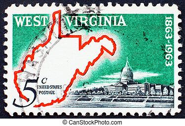 postaköltség, térkép, usa, bélyeg, nyugat virginia, 1963