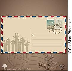 postaköltség, tervezés, szüret, boríték, ábra, vektor, ...