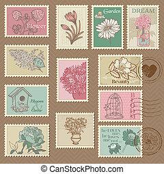 postaköltség, virág, -, tervezés, meghívás, topog, vektor, retro, esküvő, scrapbook, gratuláció