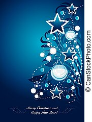 postal, árbol., navidad, brillar