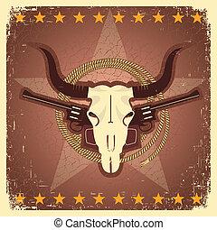postal, armas de fuego, occidental, cráneo, toro