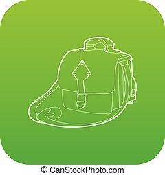 Postal bag icon green vector