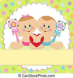 postal, bebé, plantilla