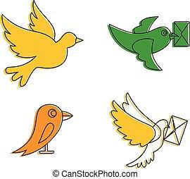 Postal bird icon set, color outline style