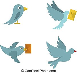 Postal bird icon set, flat style