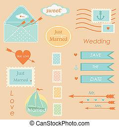 postal, boda, conjunto, vector, elementos