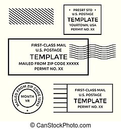 Postal cancellation First Class mail Postage Paid mark -...