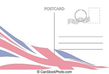 Postal card background with United Kingdom flag