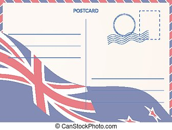 Postal card with New Zealand flag on background.