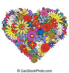 postal, con, floral, forma corazón