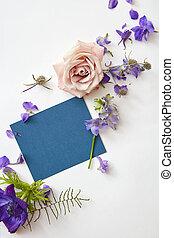 postal, con, flores frescas