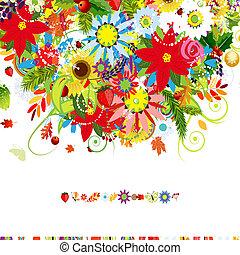 postal, cubierta, cuatro, diseño, seasons., su