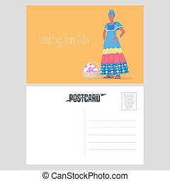 postal, de, cuba, con, cubano, mujer negra, vector, ilustración
