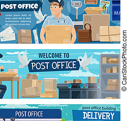 Postal delivery service, post office and postman