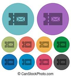 Postal discount coupon color darker flat icons - Postal...