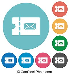 Postal discount coupon flat round icons - Postal discount...