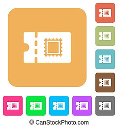Postal discount coupon rounded square flat icons - Postal...