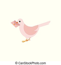 Postal dove carrying letter in his beak isolated on white background.