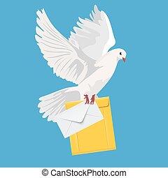 postal dove, pigeon, vector