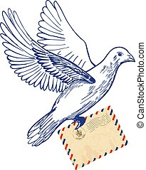 Postal dove with air mail envelope