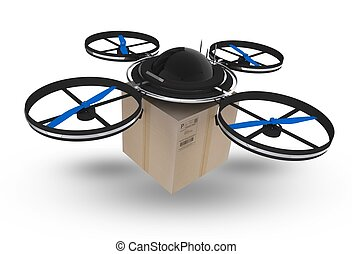 Postal Drone Isolated on White Background. 3D Drone with...