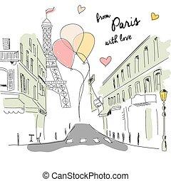 postal, eiffel, mano, parís, calle, globos, dibujado, torre