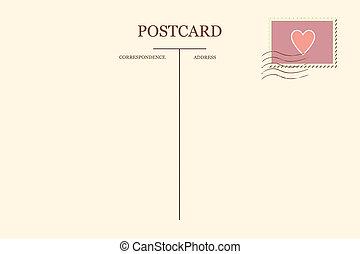 postal, en, su, corazón