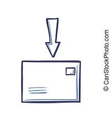 Postal Envelope and Arrow at Top Pointing Letter
