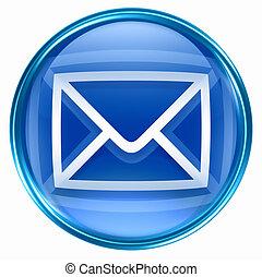 postal envelope blue, isolated on white background