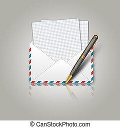 postal, envelope, e, caneta