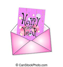 postal envelope with a New Year card. vector illustration.