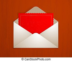 Postal envelope with blank card over wooden background realistic vector paper illustration, graphic design element message greeting mail.