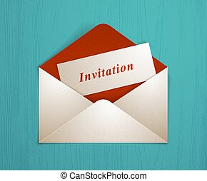 Postal envelope with invitation card over wooden background realistic vector paper illustration, graphic design element message greeting mail.
