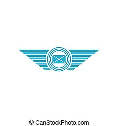 Postal envelope with wings logo, email message icon
