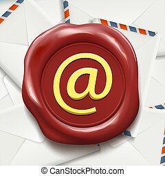 Postal envelopes. E-mail sign on the wax seal. Stock vector illu