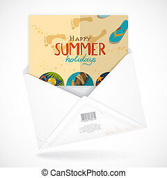 Postal Envelopes With Greeting Card. Vector Illustration....