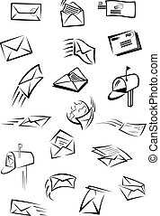 Postal icons with letters, envelopes, postboxes