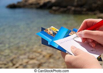 postal, imagen, 06, escritura