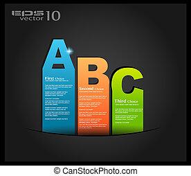 postal, menù, con, 3, choices., ideal, para, tela, uso,...